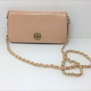 Tory Burch Soft Pink Evening Bag with Gold Accents